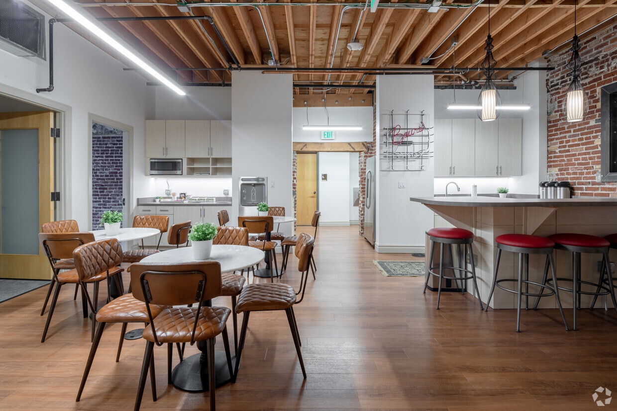 Shared coworking space in Denver with vintage chairs